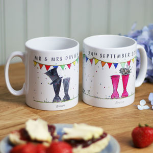 Personalised Welly 'Mr And Mrs' Mugs - best wedding gifts
