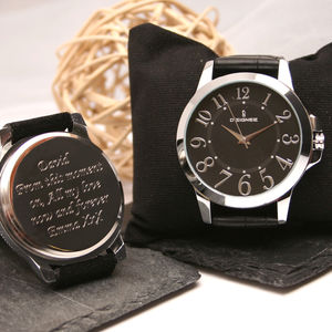 Personalised Gents Wrist Watch Silver And Black