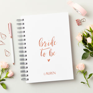 Personalised Script Bride To Be Notebook - wedding wedmin