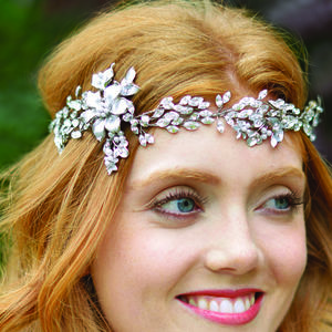 Floral Enamelled Hair Vine Tiara - bridal hairpieces