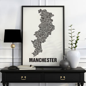 Manchester Letter Map Screen Print - posters & prints