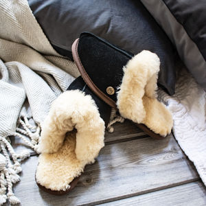 Black Sheepskin And Suede Slippers