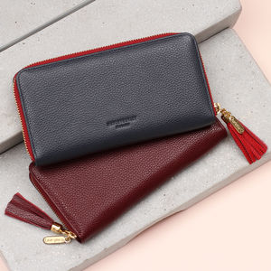Luxury Leather Personalised Zipped Wallet Purse - womens