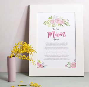 Personalised Best Mum Poem Print - posters & prints