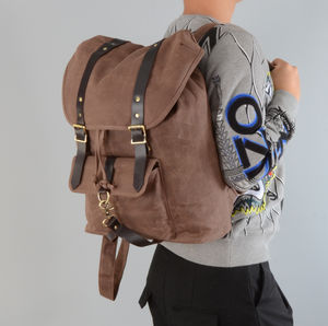 Waxed Canvas And Leather Straps Backpack