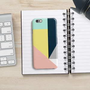 Geometric Colour Block Phone Case, Peach - tech accessories for her