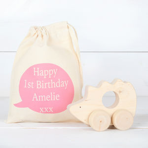 Girls Personalised Cotton Bag And Wooden Push Along Toy