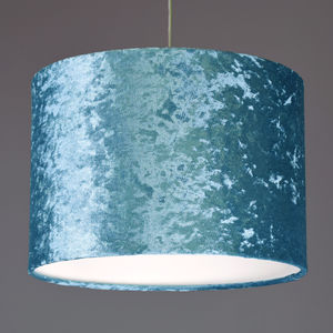 Aqua Blue Crushed Velvet Effect Drum Lampshade