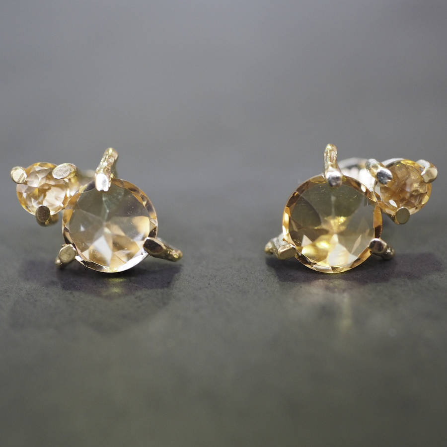 yellow citrine stud jewellers product earrings jollys gold