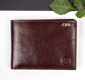 Personalised Luxury Leather Trifold Wallet.'Gallucio' - gifts for him