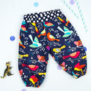 Girls Blue Bird Print Harem Trousers