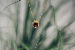 Gold Royal Garnet Necklace - 2nd anniversary: cotton