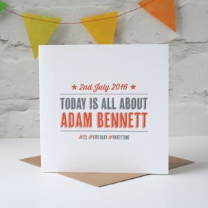 Personalised 'Hashtag' Card - adults party invitations