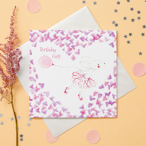 Girl's Happy Birthday Blank Card