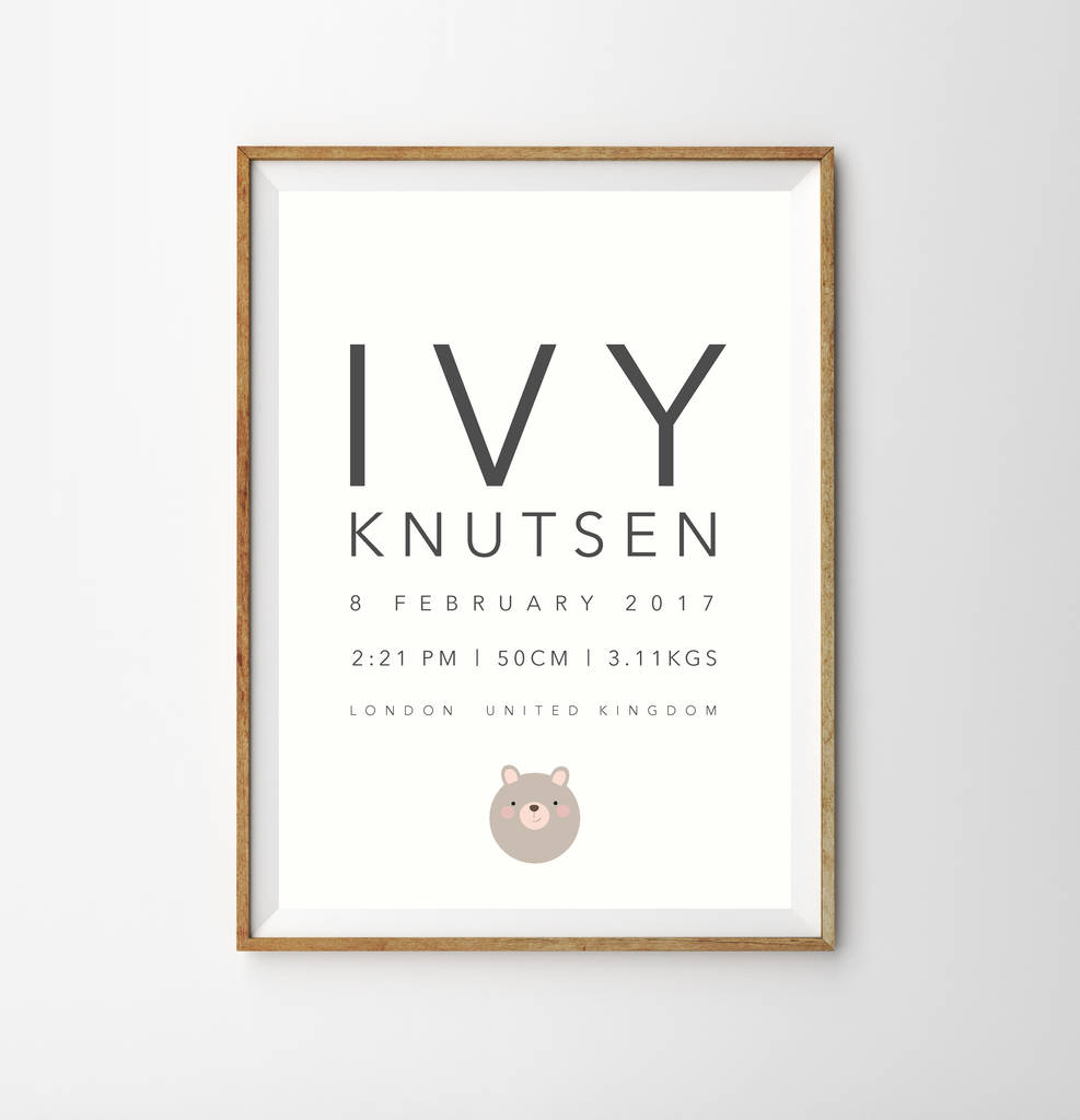 Baby Birth Nursery Print