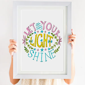 'Let Your Light Shine' Hand Lettered Circular Print