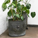 Khes Pair Of Vintage Steel Industrial Planters
