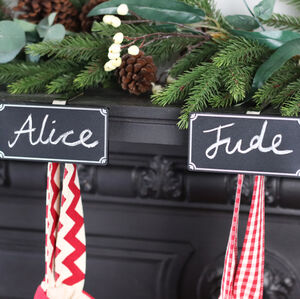 Chalk Board Personalised Stocking Holder Mantle Clip