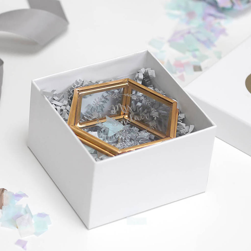 personalised mini glass hexagon jewellery box by maria allen