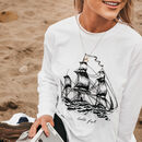 Womens 'Hold Fast' Ship Printed Long Sleeve Top