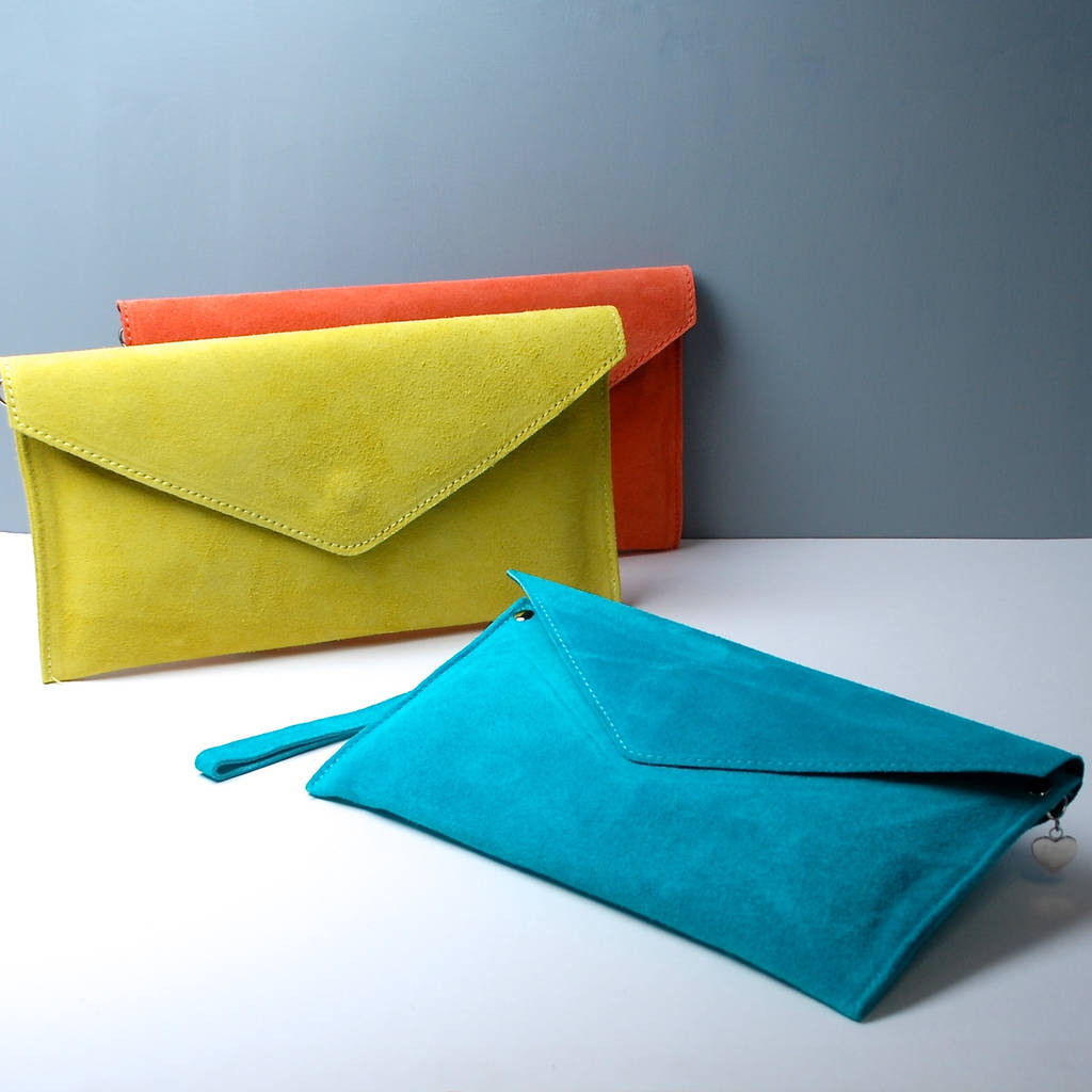 personalised suede envelope clutch bag by penelopetom ...