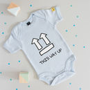 'This Way Up' Babygrow
