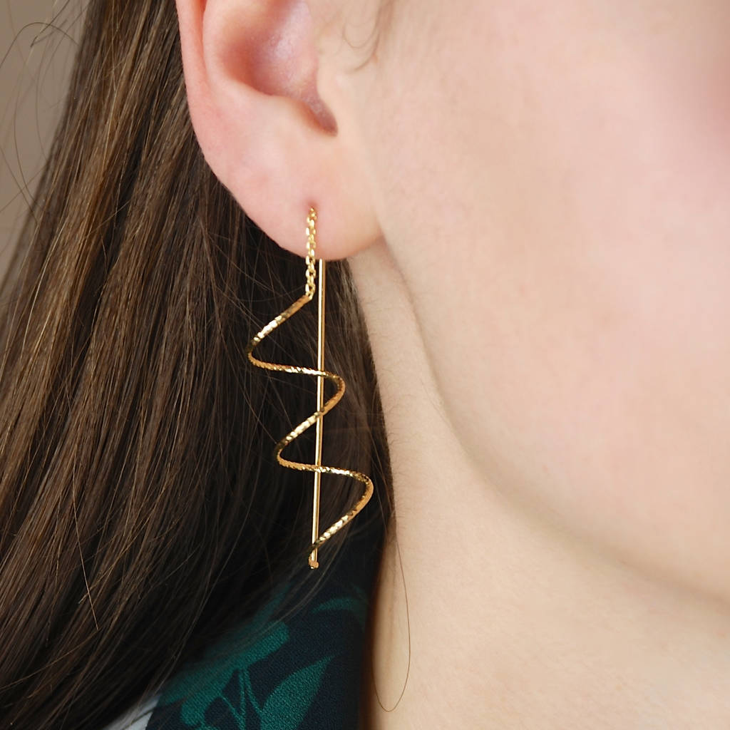 Spiral Sparkle Earrings In Silver Rose Gold Or