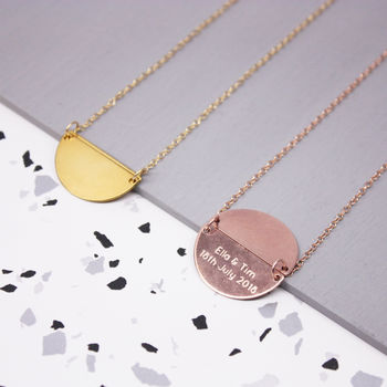 Personalised Hidden Message Semi Circle Necklace
