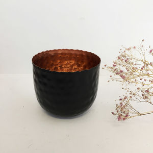 Black And Copper Hammered Tea Light Holder - living room
