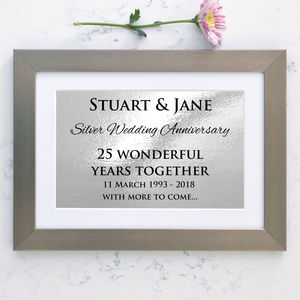 Personalised Silver Wedding Anniversary Framed Print