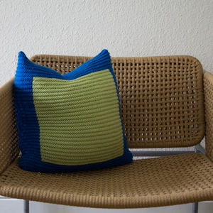 Blue On Green Hand Knit Colourblock Cushion