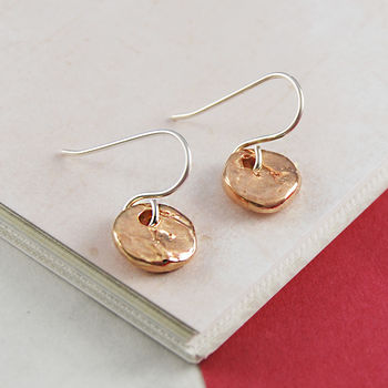 Rose Gold Round Textured Disk Drop Earrings