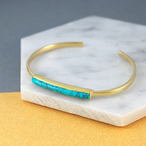 Gold Adjustable Open Cuff Turquoise Bar Bangle