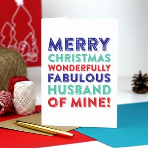 Merry Christmas Fabulous Husband Of Mine Greetings Card - winter sale