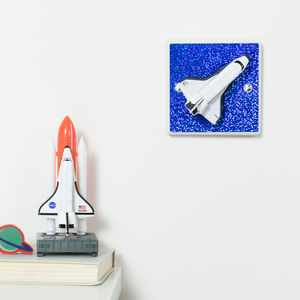 Glittery Blue Space Shuttle Dimmer Light Switch