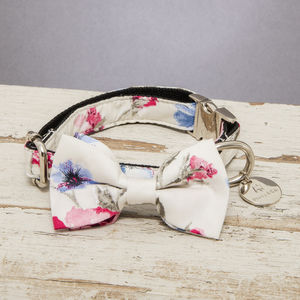 The Disley White And Pink Floral Dog Collar Bow Tie - dog collars