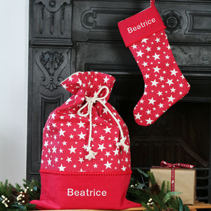 Luxury Personalised Stars Santa Sack And Stocking - view all decorations