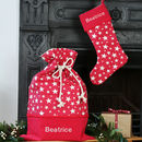 Personalised Santa Sack Christmas Stocking Set Stars