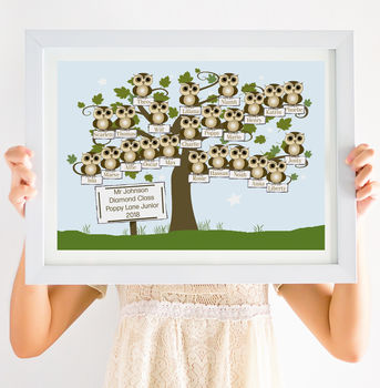 Personalised Teacher's Whole Class Little Owls Print