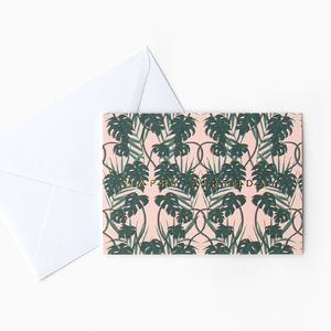 Pink Tropical Palm Birthday Card