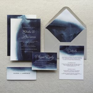 Indigo Watercolour Wedding Invitations - invitations