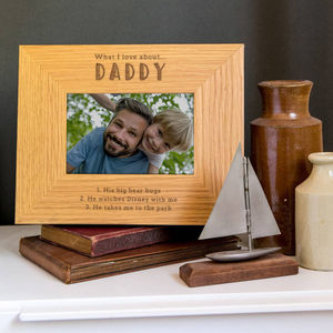 Daddy Photo Frame Personalised 'What I Love About Dad' - father's day gifts