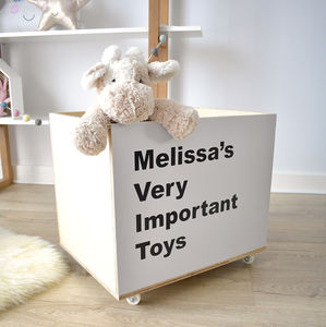 Personalised 'Important Toys' Storage Crate On Wheels - personalised gifts