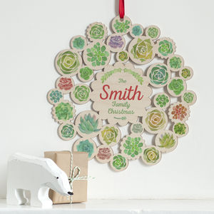 Wooden Succulents Family Name Christmas Wreath