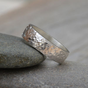 Personalised Textured Wedding Band In Sterling Silver - fine jewellery