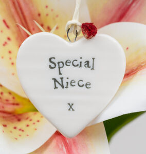 'Special Niece' Porcelain Hanging Heart Gift