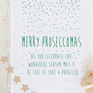 Prosecco Christmas Tea Towel 'Proseccomas' - winter sale