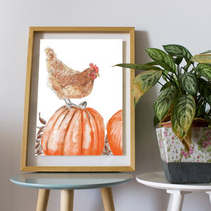 Hen At The Allotment Digital Art Print