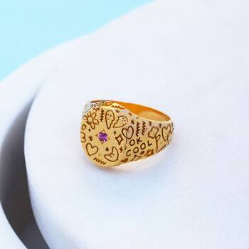 Doodle Signet Ring By Mood Good X Holly St Clair