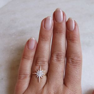 14 K Gold Vermeil Statement Diamond Snowflake Ring - rings